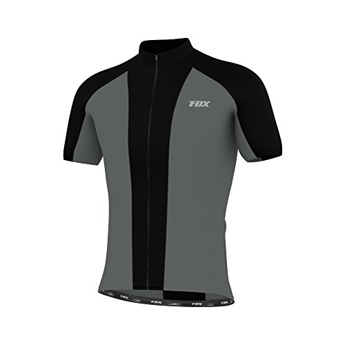 FDX Mens Cycling Jersey Half Sleeve Biking Top Outdoors Sportswear Bike Shirt (Grey & Black, Large)