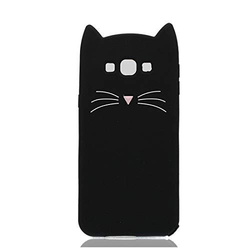 YuanYuZhongPhoneSky Silikon Samsung Galaxy E7 Hülle 3D Entwerfen Ohr Katze Premium Material Slim Vollschutz handyhülle für Samsung Galaxy E7 Mädchen Case Stoßfest/Schwarz