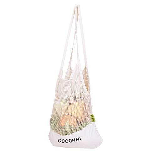 GOCOHHI Bio-Baumwollgewebe produzieren Einkaufstasche Wiederverwendbare Musselin Gemüse Obst Lagerung natürliche umweltfreundliche Taschen (1 Packung) -