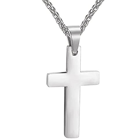 Collier Pendentif Croix PROSTEEL Bijoux Simple Religieux en Acier Inox pour Homme Femme - Chaîne Maille Palmier Offerte (Argenté)