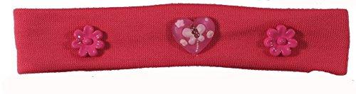 Bandeau Cheveux pour Enfant en Textile et Plastique - Fleur Coeur Papillon - Rose Fuchsia