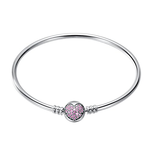 CHANGEABLE Bracciali Donna con Aperto Argento Sterling 925 Lunghezza 17CM - Cardiaco Rosa