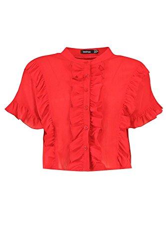 Femmes rouge grace chemise manches courtes à volants Rouge