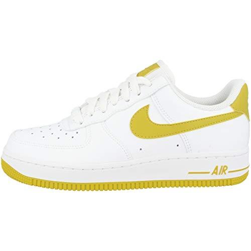 Nike Damen WMNS Air Force 1 '07 Basketballschuhe, Mehrfarbig (White/Bright Citron 000), 43 EU