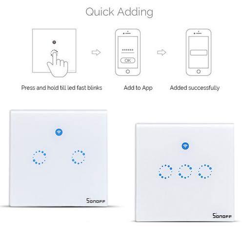 T1 EU Intelligenter Berühren Mauer Schalter,WIFI Fernbedienung Aktie Steuerung smart wall switch Aktie Steuerung mit Alexa/Google Home/IFTTT 1 Gang APP Fernbedienung,Timing-Funktion für Android iOS