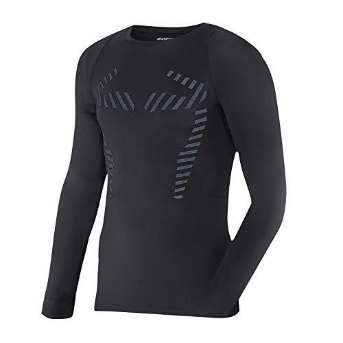 AMZSPORT Maglia Compressione Termica da Uomo a Manica Lunga Maglietta da Corsa per Sport Invernali Baselayer, Nero S