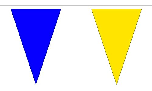 5Meter 12(30,5x 20,3cm) Royal Blau & Gelb Triangle Die dreieckige Flagge 100% Polyester Material Wimpelkette ideal Party Dekoration für Street House Kneipen Vereine Schulen St. Davids Tag (Blau-party Dekorationen Gelb Und)