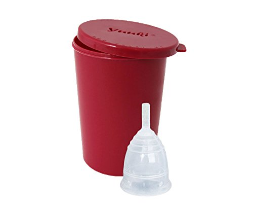 Menstruationstasse klein Yuuki Classic S Modell 1 aus Silikon BPA-frei im Set mit Becher zur Reinigung - Tampons-Alternative während der Menstruation - Menstruationskappe - Menstruationsbecher - Menstrual Cup