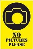 Fotografieren verboten Schild -200t- No pictures 29,5cm * 20cm * 2mm, mit 4 Tesa-Powerstrips