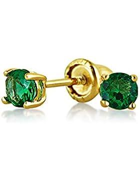 Bling Jewelry simulierten Smaragd CZ Baby Screwback Bolzen 14K Gold 3mm