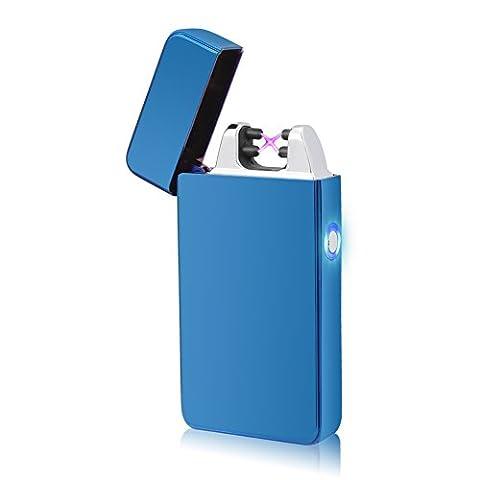 Briquet Electrique, LAZU Briquet Double Arc Electrique Sans Flamme USB Rechargeable Anti Vent Coupe-vent (Bleu-Glace)