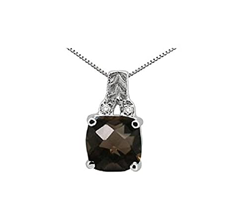 RS JEWELS 14K White Gold Plated 925 Sterling Silver 2.75ct Cushion Shaped Smokey Stone & White CZ Solitaire Look Fancy Pendant With