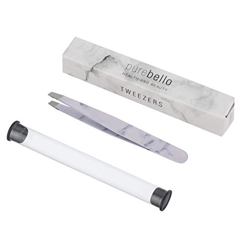 Augenbraue-Pinzette aus Marmor Präzision   Marmor-Pinzette für Herren und Damen   Am besten zum Zupfen und Pinzette zur Haarentfernung mit Reiseetui von Purebello