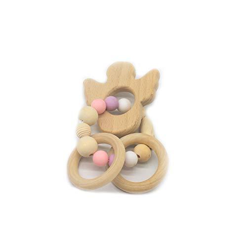 JER Langlebiges Silikon Holz Rasseln Baby Safe Ring Beißring Hand Entwicklung Educational Kinder Spielzeug Kaktus Art Spielzeug