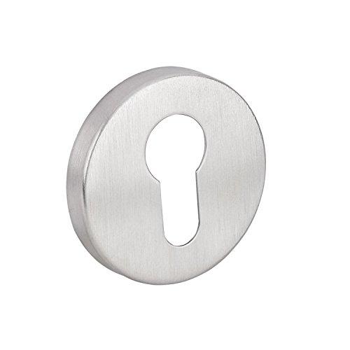 GedoTec® Sicherheitsrosette Schutz-Rosette V2A Edelstahl matt gebürstet | PZ - Profilzylinder | Türrosette für Türstärke 40 mm bis 70 mm | Schutzrosetten-Paar rund für Haustüren & Wohnungseingangstüren | Markenqualität für Ihren Wohnbereich - 4