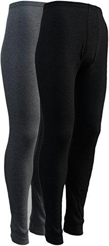 2 lange Thermo- Funktions- Unterhosen für Herren - Sport- und Arbeits-Unterhosen mit Eingriff (8, Grau / Schwarz) (Lange Unterhose Winter)