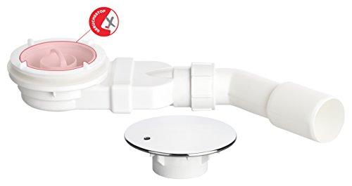 AQUAPOSH Ablaufgarnitur Set Extraflach für Dusche 90mm DN38,DN40,DN48 und DN50 -  Chrom Ablaufventil inkl. Anleitung, Einbauhilfe und Flexanschluss