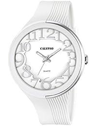 Calypso–Reloj de cuarzo para mujer con correa de plástico en color blanco esfera analógica pantalla y blanco k5706/1