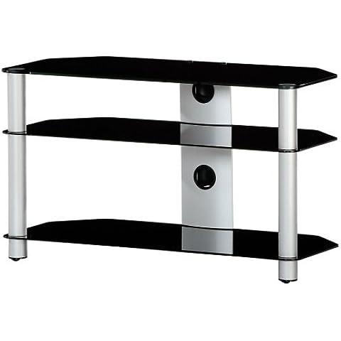 RO&CO M-903 NG - Mueble TV de 3 estantes. Vidrio negro / Chasis de color gris. Ancho 90 cms.