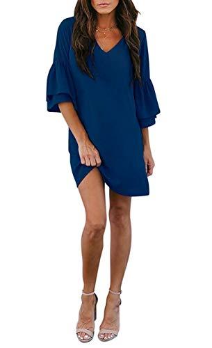 Small-shop-UK fashionable dress for women Royal Blue Rock Langen Dame-Frauen-Kleid Sweet & Netter V-Ausschnitt Glockenärmel Etuikleid Minikleid-Gelb-Kleider für Frauen - Kleid Royal Shift Blue