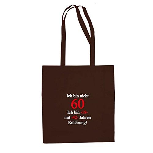 Ich bin nicht 60 - Stofftasche / Beutel, Farbe: braun