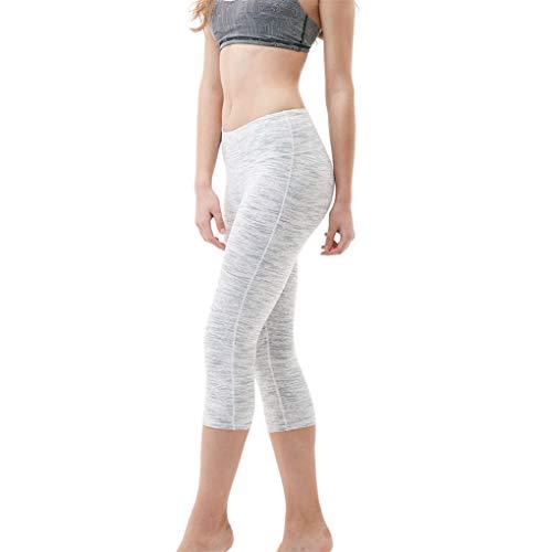 Dorical Damen Leggings 3/4, Sport Yoga Pants High Wasit, Frauen Sporthose kurz Training Tights Fitness Capri Yoga Pants(Weiß,X-Large)