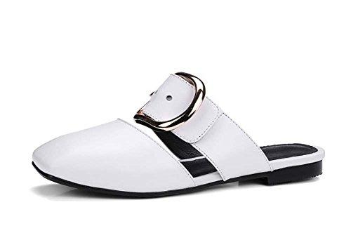 NobS Pelle punta quadrata Appartamenti Buckle Mule scarpe pantofole in pelle DONNA White