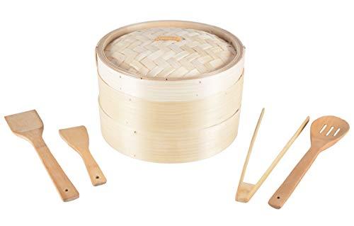 Aricola Bambus Dämpfer 3-teilig. 25cm Ø inklusive Kochlöffel-Set 4-teilig