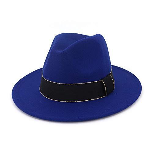 Weibliche Mafia Kostüm - youjiu Zylinder, europäische und amerikanische Mode, Hut, weiblich, flach, großer Herr @ Royal Blue_Adjustable