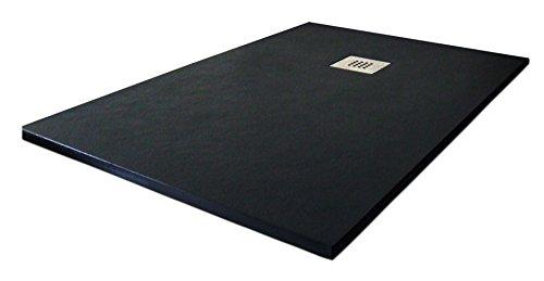 "Plato ducha resina tipo pizarra ""Slate"". 80x120cm. Negro Ral. 9005."