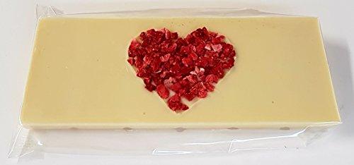ChocoLaden – weiße Schokolade mit Erdbeerherz -HANDGEMACHT-