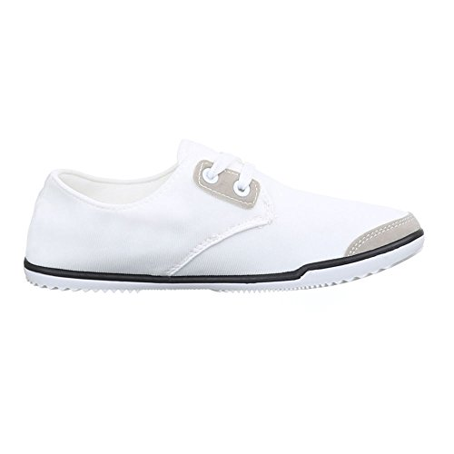 Ital-Design Schnürer Damenschuhe Oxford Schnürer Schnürsenkel Halbschuhe Weiß