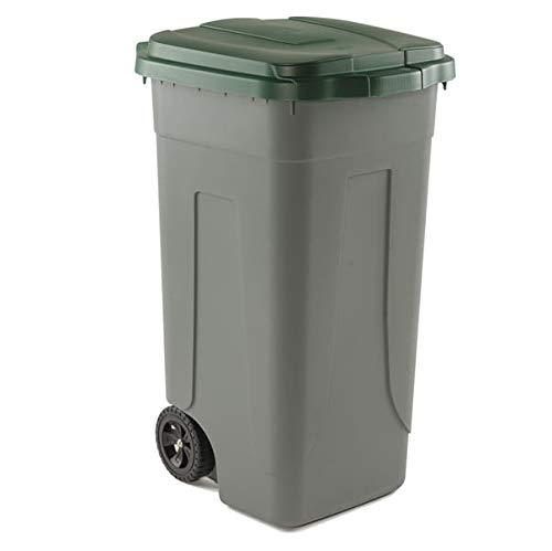 Bidone raccolta differenziata lt. 100 con ruote fondo grigio e coperchio verde