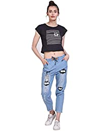 Adiba Womens Jogger Fit Printed Jeans Pant for Womens