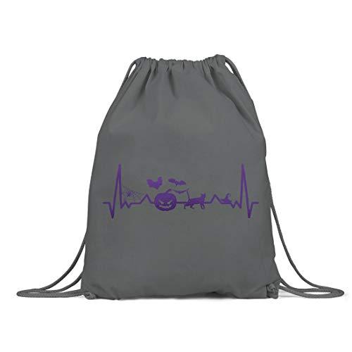 BLAK TEE Halloween Heartbeat Line Organic Cotton Drawstring Gym Bag Grey