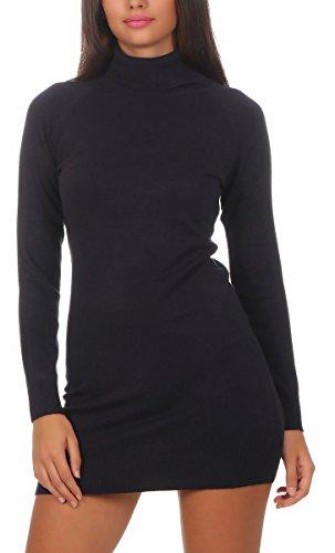 Fashion4Young 11392 Damen Feinstrick Pullover Strickkleid Strickpullover Rollkragen Minikleid Rollkragenpullover (S/M=34/36, blau) -