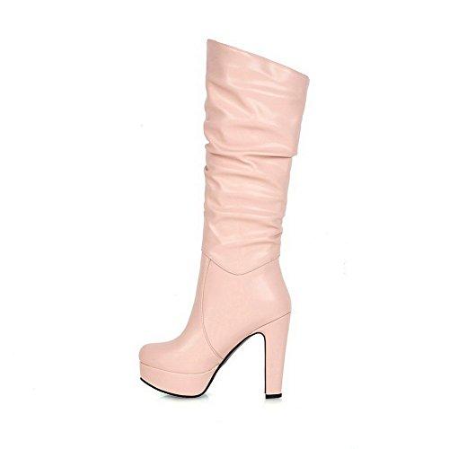 AgooLar Damen Rund Zehe Rein Mitte-Spitze Hoher Absatz Stiefel Pink