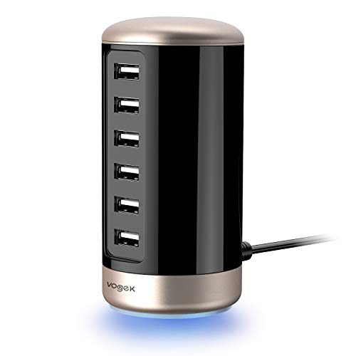 egerät, Multi-Port USB Ladestation mit Smart Technologie für Android Apple iPhone 7 Plus iPad Pro/Air 2 LG G5 Samsung Galaxy S8 / S7 / S6 / Edge/Plus/Note usw. (Schwarz+Gold) ()