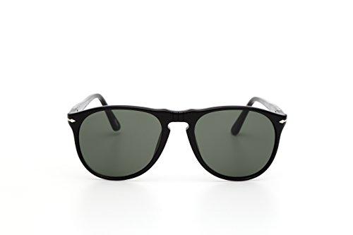 Persol Unisex PO9649S Sonnenbrille, Gestell: schwarz, Gläser: grün-klar 95/31), Medium (52)