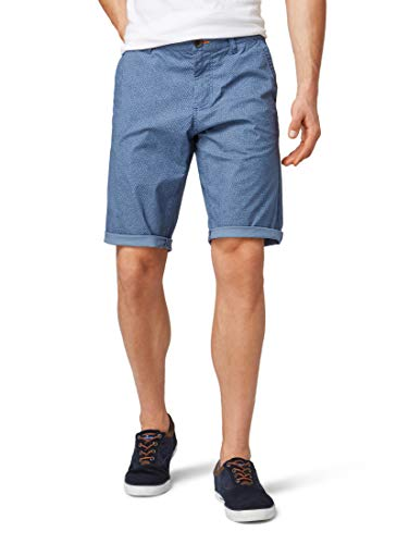 TOM TAILOR für Männer Hosen & Chino Josh Regular Slim Chino-Shorts Blue Triangle Print, 38 -