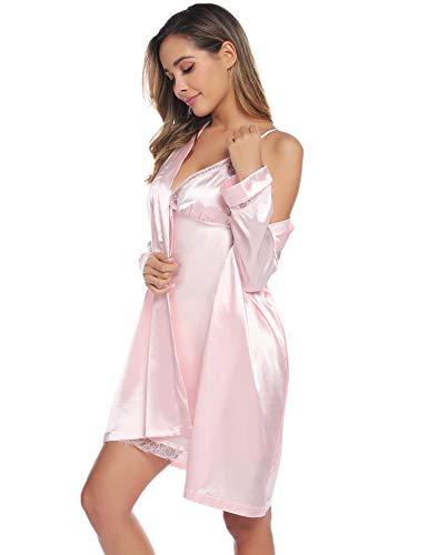 Aibrou Damen Einfarbige Chemise und Robe 2 Stück Set, Nachtkleid und Kimono Set Rosa S -