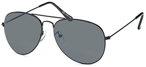 Sonnenbrille Pilotenbrille Aviator Brille bunt verspiegelt New Design mit UV Schutz (Black)