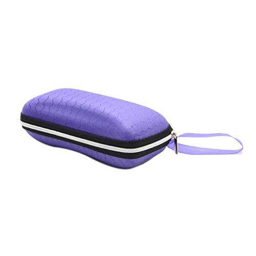 Demino Platz tragbare Gläser Box Farbe Bienenwaben-Muster Eva Zipper Sonnenbrillen Fall Freizeit-Augen-Glas-Halter lila 17 * 7 * 6cm