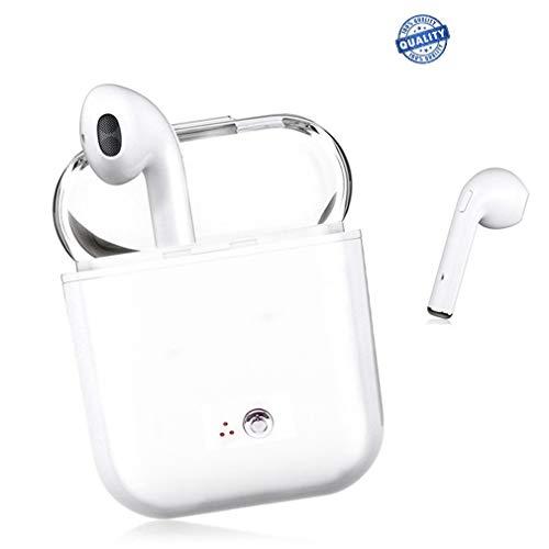 Auricular Bluetooth, Mini tamaño Estéreo HD Auriculares con micrófono con cancelación de Ruido en el oído, Compatible con iOS Android Smartphone (White)