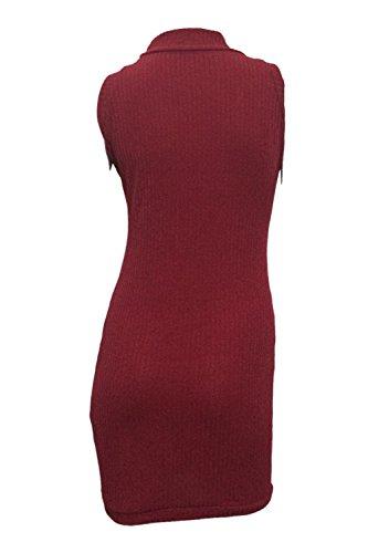 Babyonlinedress Damen Bleistiftrock ärmellos Midirock Sweatershirts  Pullover Wickelkleider Wolle Cocktailkleid in 5 Farben Weinrot