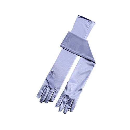 (RdChicLog Party Hochzeit Satin Handschuhe Lang Brauthandschuhe Kostüm Zubehör Damen Karneval Halloween lange Handschuhe (Silberblau))