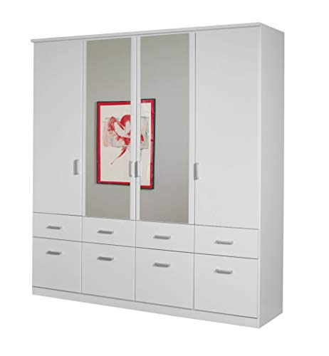 Rauch Kleiderschrank mit Spiegel 4-türig Weiß Alpin mit 8 Schubladen, BxHxT 181x199x56 cm -