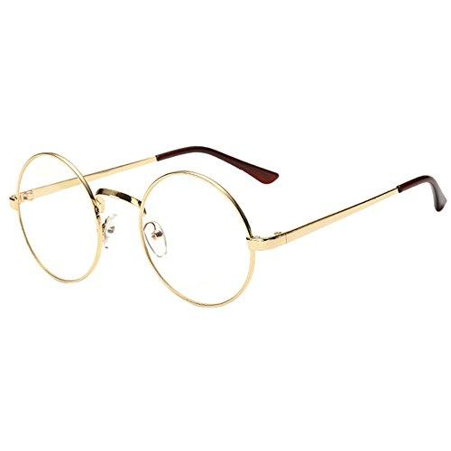 bennyuesdfd Unisex Retro Runde Brille Metall Frame Metall Klare Linse Brillenfassungen Damen Herren Brillenfassung Fensterglas (Gold)