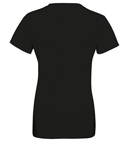 Deutschland EM 2016 Kreismotiv - Damen Rundhals T-Shirt Schwarz/W-Schwarz-Rot-Gelb