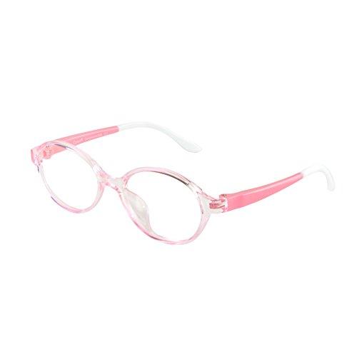 Cyxus Cyxus TR90 filter blaues licht brille für kinder und jugendliche [transparente linse] anti ermüdung der augen das auge des kindes schützen rosa oval rahmen brille ohne stärke